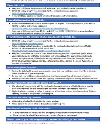 COVID 19 Family Protocols