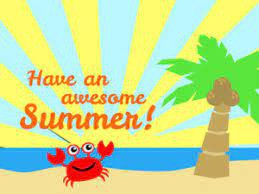 have an awesome summer! crab on the sand with the sun and palmtree
