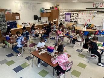 Mrs. Birchmeier's 3rd Graders enjoying art class!