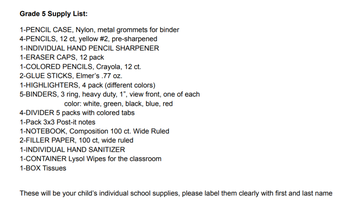 Grade 5 Supply List