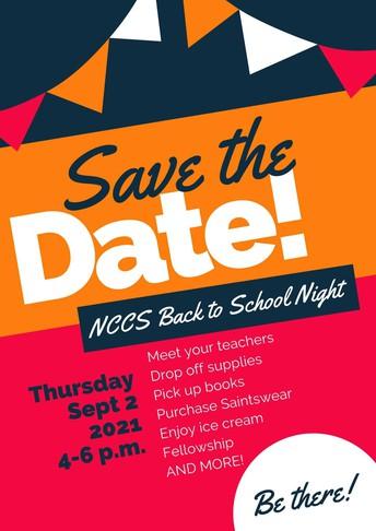 Back to School Night Sept. 2