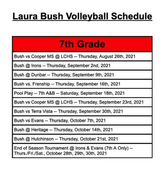 7th VB Schedule