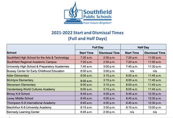 2021 - 2022 Start & Dismissal Times