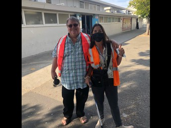 Twinning with Mr. Thompson in our stylish neon orange attire