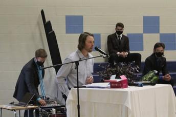 Mr. B delivers the guest speaker address.
