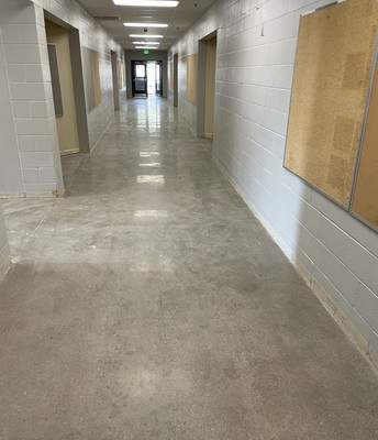 Polished concrete in the hallway