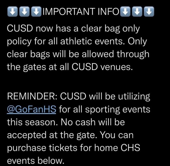 Ticket Policy/Clear Bag Policy