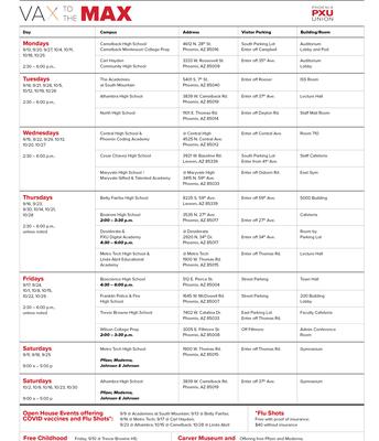 PXU Vaccination Schedule