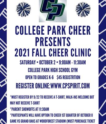 TWCPHS Fall Cheer Clinic