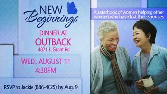 NEW BEGINNINGS (WIDOW'S FELLOWSHIP) DINNER