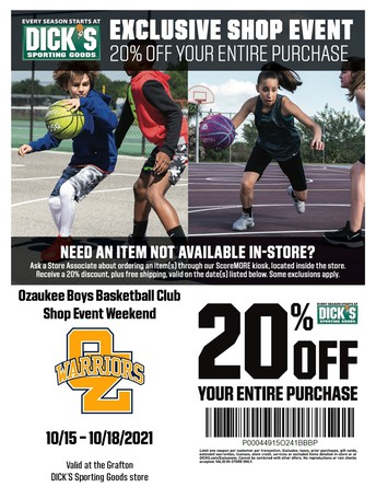 Warrior Boys Basketball Club Teams up with Dick's Sporting Goods