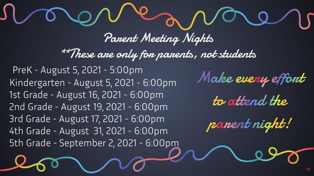 parent meeting dates and times