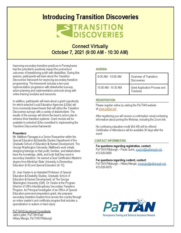 Introducing Transition Discoveries flyer