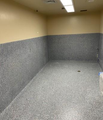 Bathroom w/new epoxy flooring