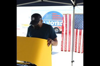 LA County Residents cast their votes and receive vaccines at Jeff Seymour Family Center
