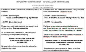 Important School Day Information
