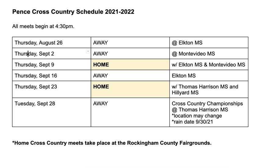 UPDATED (8-26-21) Pence Cross Country Schedule 2021-2022