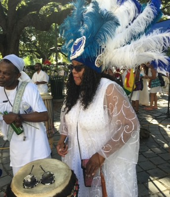 New Orleans Tribal Headpiece and Maafa Ceremony Drummer