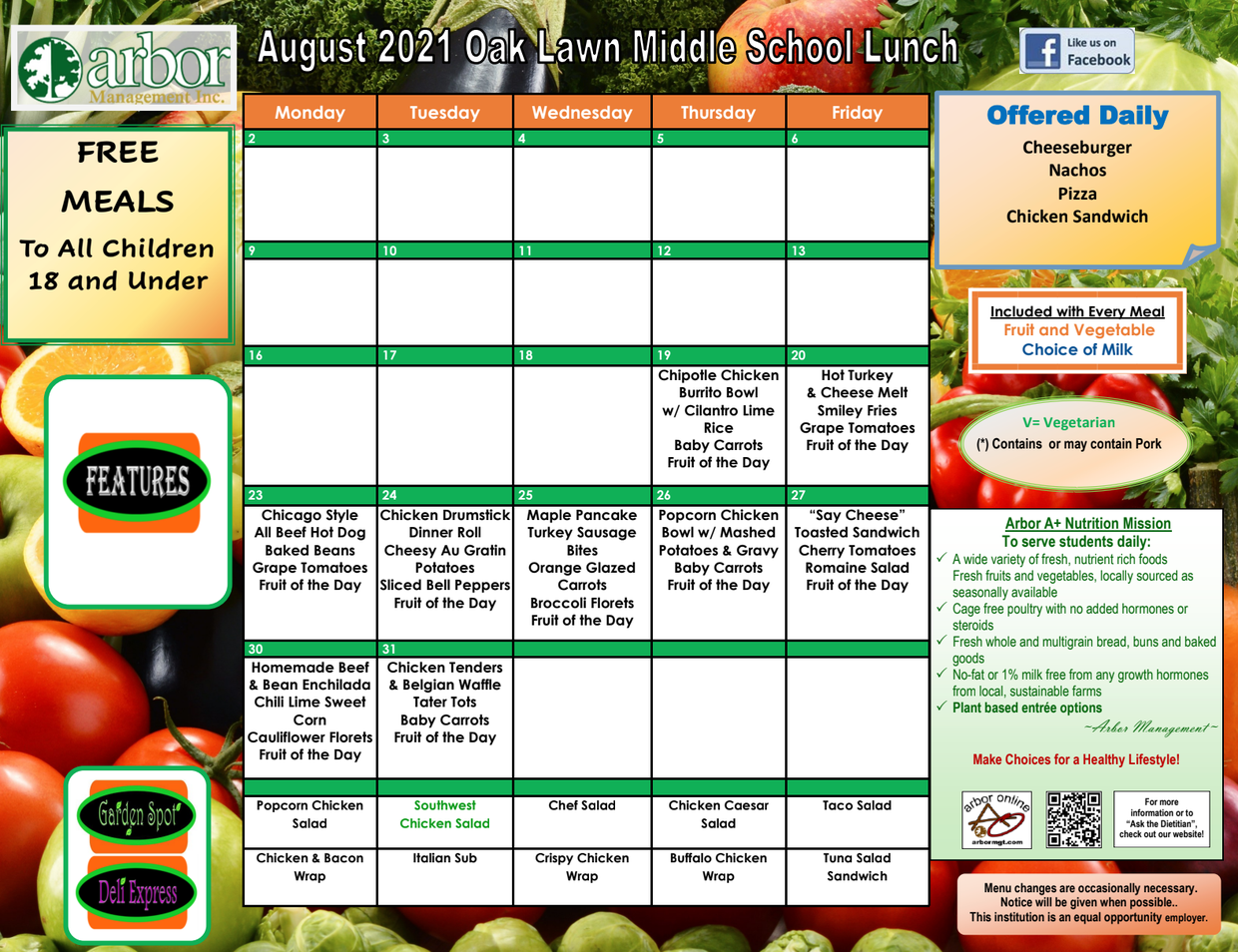 Picture of the August Lunch Menu
