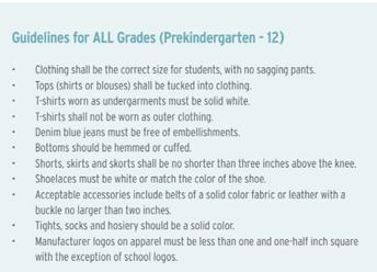 Guidelines for ALL Grades (Prekindergarten-12)