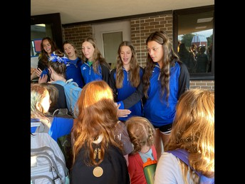 Our HS Athletes greeting our elementary students.