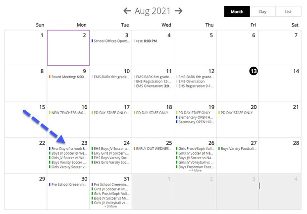 Picture of calendar with an arrow on August 23, the first day of school
