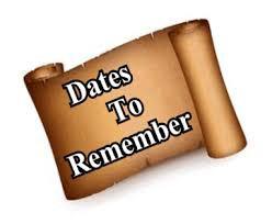 Upcoming Dates: