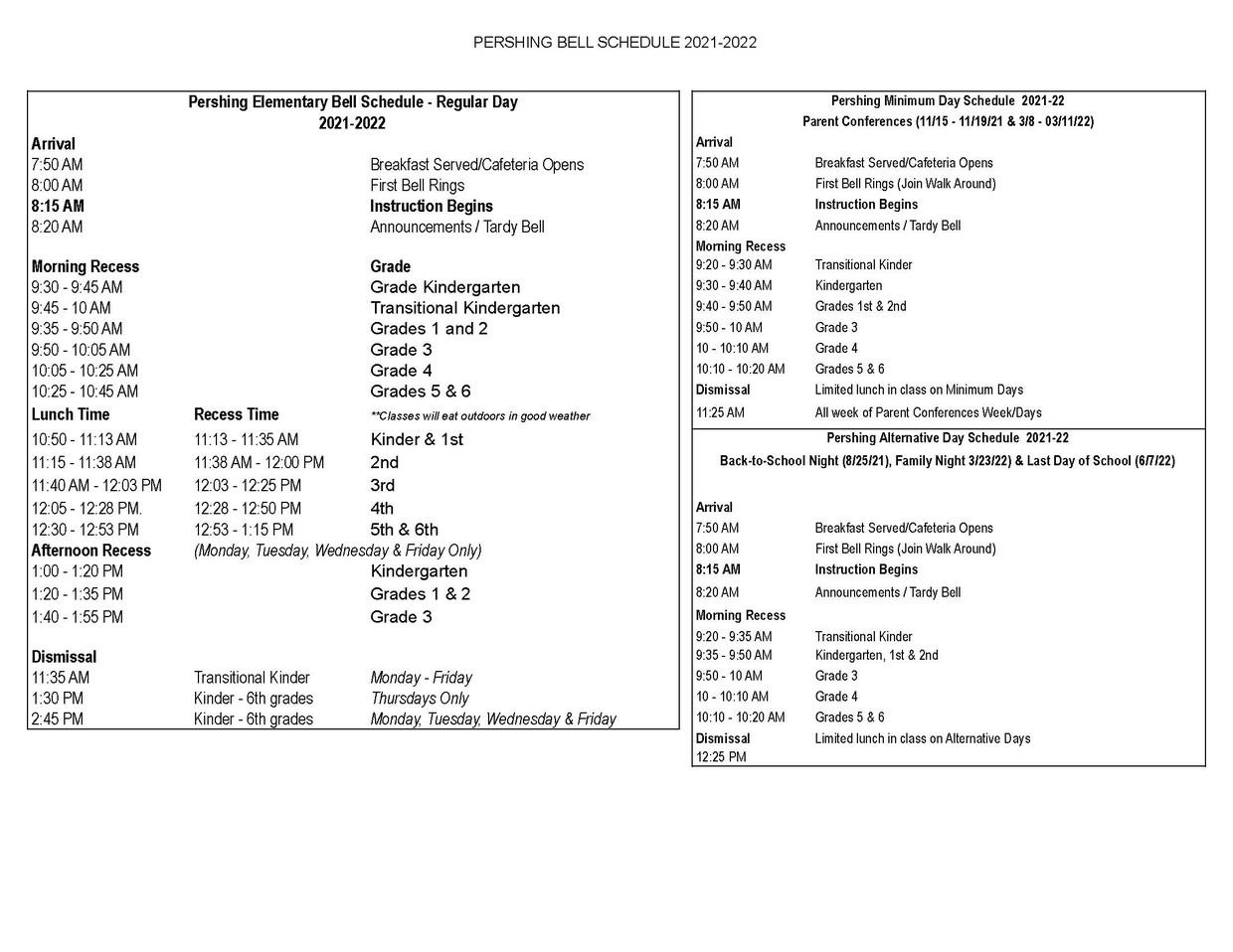 Pershing Bell Schedule 2021-2022
