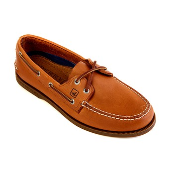Sperry Men's Authentic Original Cross Lace Washed Stripe Boat Shoe (BROWN ONLY)  Gr. 6-8