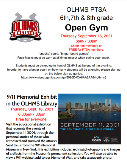 PTSA OPEN GYM & 9/11 Memorial Exhibit Flyer for September 16th