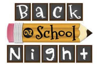 Back To School Night ~~~~  Monday, July 26 ~ 5:30pm - 7:00pm