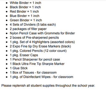 Grade 6 Supply List