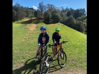 Toby & Charlie out for a bike ride.