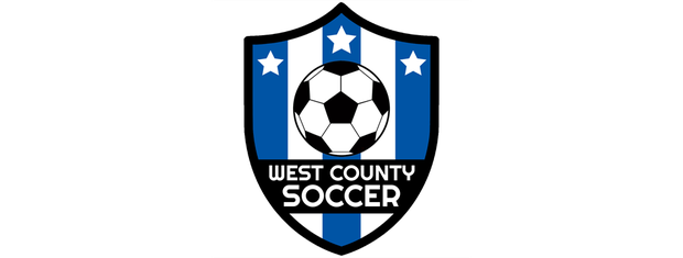 West county soccer logo (shield with soccer ball in center and blue and white stripes)