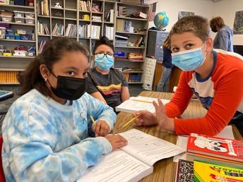 Grade 5 Students Working Hard Together!