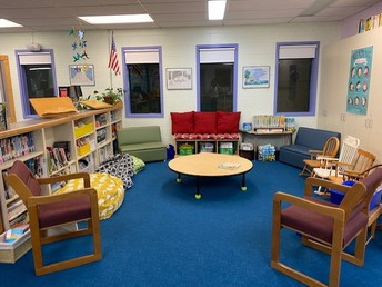 The library is waiting for readers in the cozy reading area!