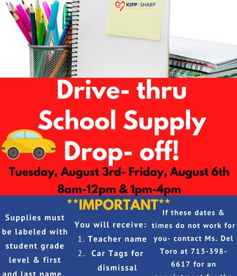 Drive- thru School Supply Drop- off!