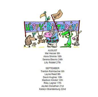 Seventh Grade Birthdays