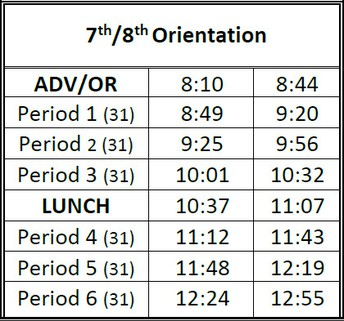 Bell Schedule for Wednesday, July 21, 2021
