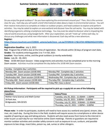 From Bridgewater State University: Virtual Summer Science Academy**