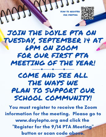 First PTA Meeting on September 14th at 6PM
