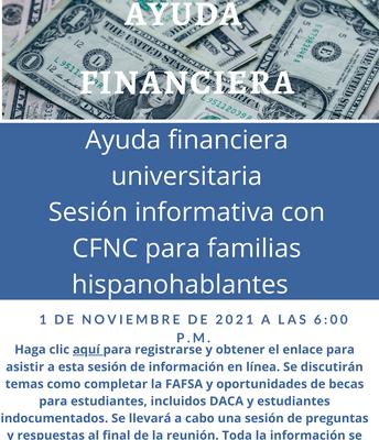 Ayuda financiera universitaria Sesion informativa con CFNC para familias hispanohablantes