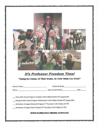 Professor Freedom After School Class K-5th grade