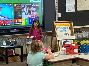 1st grade presenting their projects