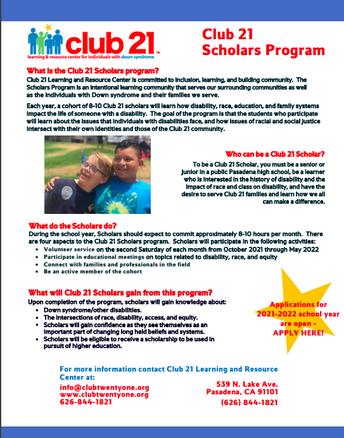 Club 21 Scholar - Volunteer Opportunities