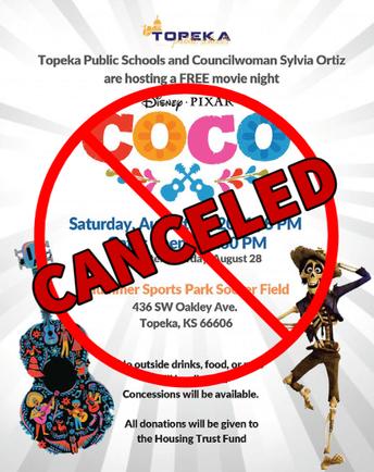 Topeka Public Schools and Councilwoman Sylvia Ortiz Host Free Screening of Coco  **CANCELED