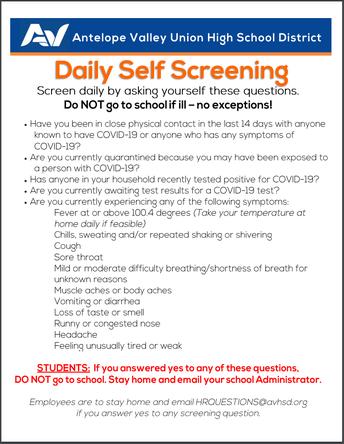 SOAR Self-screening Procedures