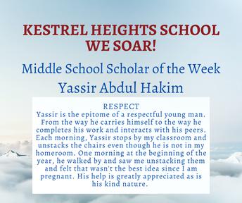 9/29 Middle School Scholar of the Week