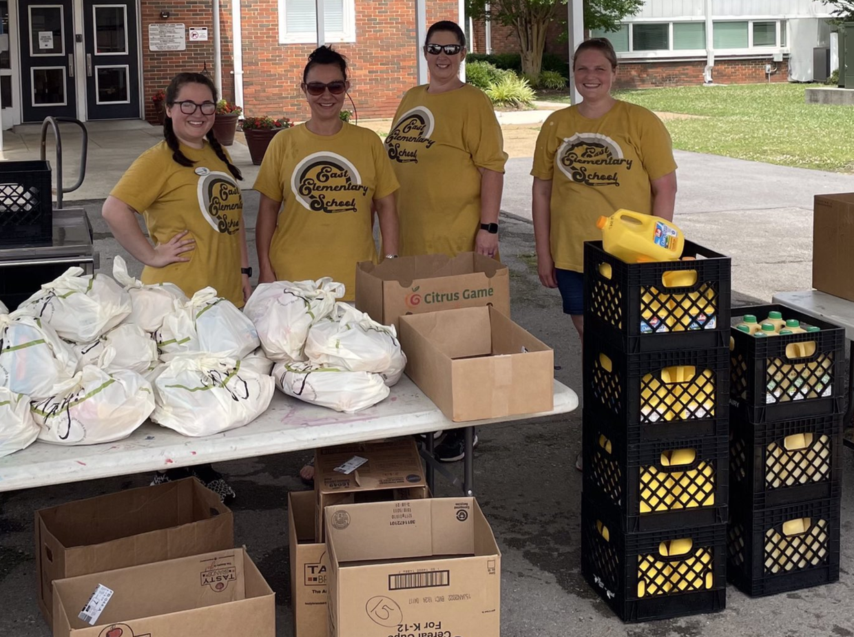 East CNP staff outside of West Elementary for meal distribution.