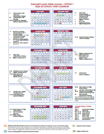 2022-2023 GCPS Calendar Options